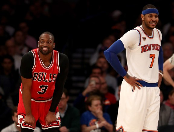 "AFP/""Scanpix"" nuotr./Dwyane'as Wade'as ir Carmelo Anthony"