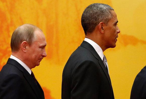 """""""Reuters""""/""""Scanpix"""" nuotr./Vladimiras Putinas ir Barckas Obama"""