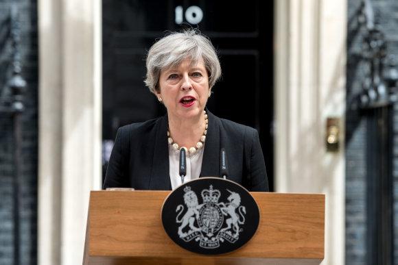 """""""Scanpix""""/""""Xinhua""""/""""Sipa USA"""" nuotr./Theresa May"""