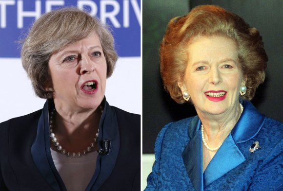 """""""Scanpix""""/""""PA Wire""""/""""Press Association Images"""" nuotr./Theresa May ir Margaret Thatcher"""