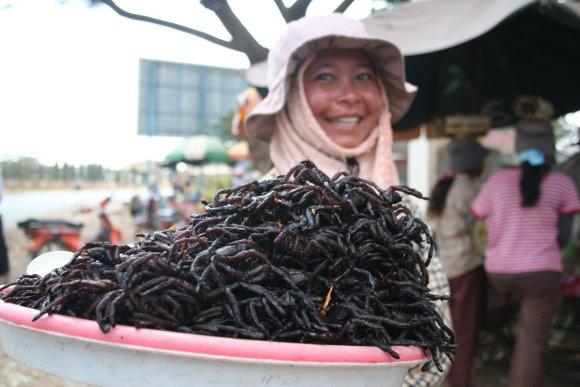 Skuono turgavietės delikatesas yra tarantulai