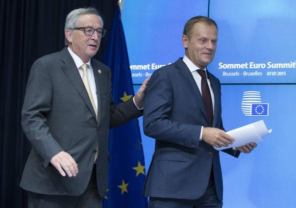 """""""Reuters""""/""""Scanpix"""" nuotr./Jeanas Claude'as Junckeris ir Donaldas Tuskas"""