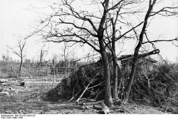 """Vokietijos Bundesarchyvo/Wikimedia.org nuotr./Užmaskuota vokiečių savaeigių haubicų """"Wespe"""" baterija Italijoje (1944 m. kovas)"""