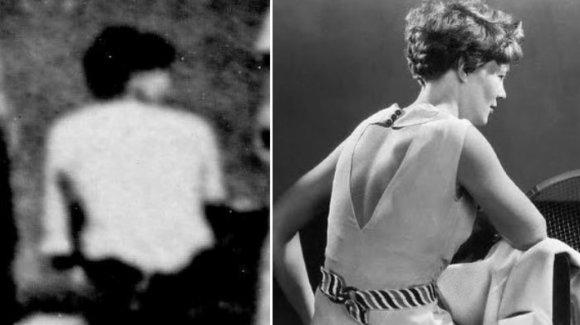 """""""Scanpix""""/AP ir Wikipedia.org nuotr./Amelios Earhart ir rastoje nuotraukoje matomos moters (?) figūros palyginimas"""