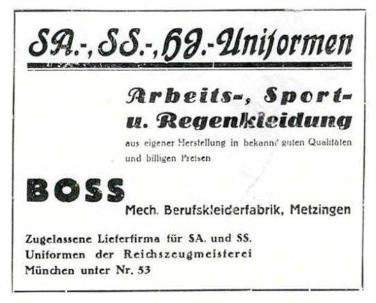 """Wikipedia.org nuotr./""""Hugo Boss"""" nacionalsocialistinių organizacijų uniformų reklama"""