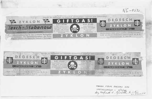 """Wikipedia.org nuotr./""""Zyklon B"""" etiketės iš Dachau koncentracijos stovyklos"""