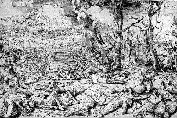 Wikipedia.org nuotr./Marinjano mūšis Urso Grafo, kuris pats buvo šveicarų samdinys ir galėjo dalyvauti šiame mūšyje, graviūroje