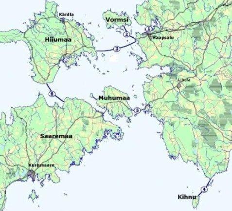 Estijos kelių direkcijos iliustr.  /Estijos ledo kelių žemėlapis