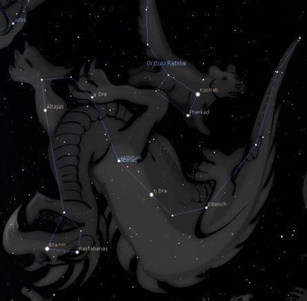 LEM iliustr./Drakono žvaigždynas./Stellarium programos simuliacija