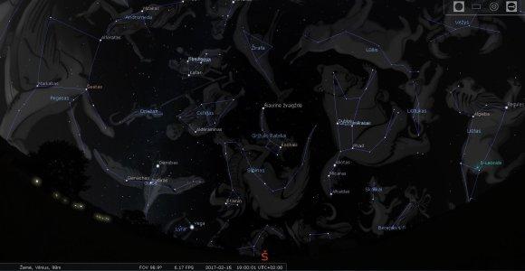 LEM iliustr./Lietuvos šiaurinio skliauto žvaigždynai vasario mėn. 15 d. 19 val./Stellarium programos simuliacija