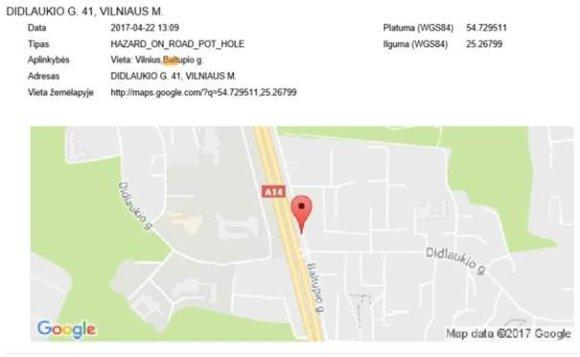 """""""Google Maps"""" pranešimas apie duobes"""