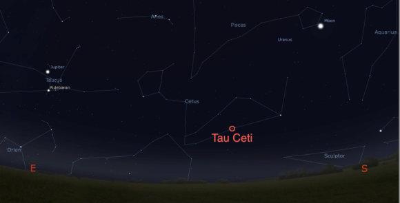 Stellarium progr. iliustr./Tau Ceti  žvaigždė
