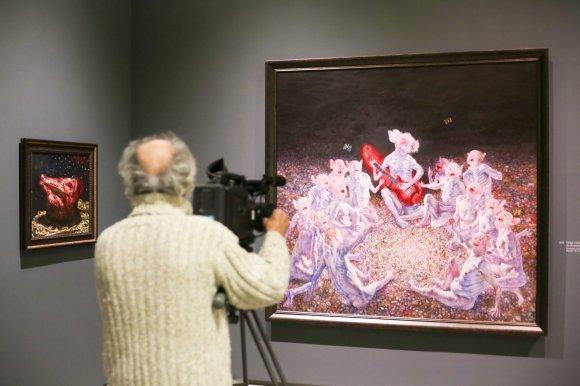 """Irmanto Gelūno / 15min nuotr./Nacionalinėje dailės galerijoje atidaryta retrospektyvinė dailininko Šarūno Saukos paroda """"Žmogus su Saukos veidu"""""""