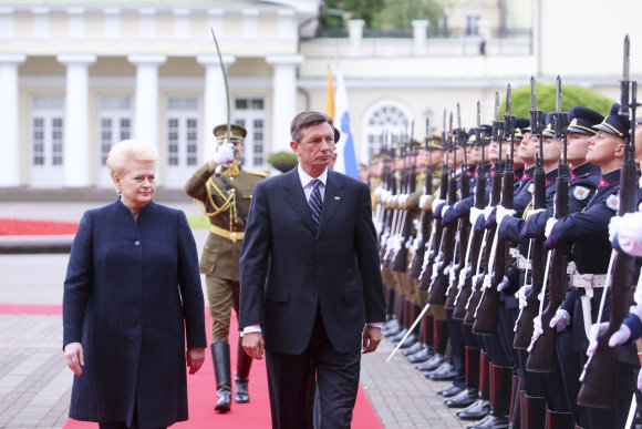 Irmanto Gelūno / 15min nuotr./Prezidentė Dalia Grybauskaitė susitiko su Slovėnijos prezidentu Borutu Pahoru