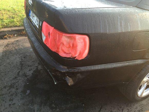 """Įvykio liudininko nuotr./Po pirmojo gaisro """"Audi A6"""" automobilis buvo apdegęs tik tiek."""