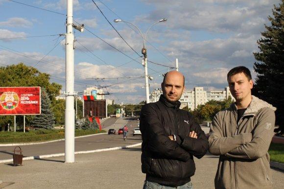 Vaido Mikaičio nuotr./Vaidas ir Vytautas Mikaičiai Padniestrėje, Tiraspolyje