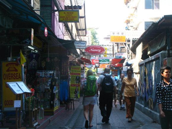 Kuprinėtojų gatvelė netoli Khaosan