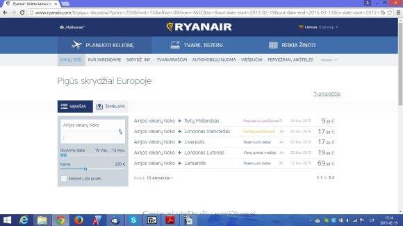Skrydžių kainos iš Airijos oro uostų