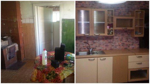 LaiNika grupės nuotr./Grupės nariai skurstančios šeimos virtuvę atnaujino dovanotu baldų komplektu.