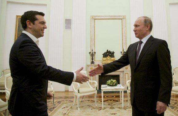 """""""Scanpix""""/AP nuotr./Graikijos premjeras Aleksis Cipras ir Rusijos prezidentas Vladimiras Putinas"""