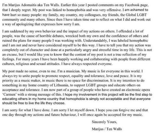 Marijaus Adomaičio atsiprašymas