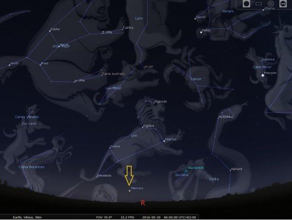 STELLARIUM programos simuliacija/Nr.11. Merkurijus rugsėjo pabaigoje virš rytų horizonto prieš Saulės patekejimą