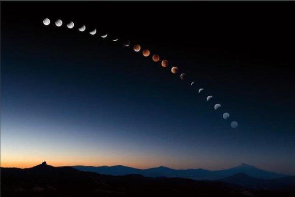 Nuotr. iš Astrophoto.com/Nr.19. Itin ilgos ekspozicijos nuotraukoje – visos pilno Mėnulio užtemimo stadijos