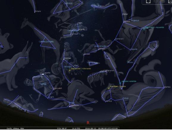 STELLARIUM programos simuliacija/Nr.4. Rytinės skliauto dalies žvaigždynai rugsėjo 15 d. pusiaunaktį
