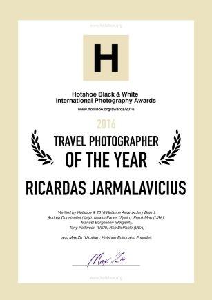 """Ričardo Jarmalavičiaus kūryba įvertinta Metų fotografo titulu pasauliniame fotografijos konkurse """"Hotshoe Black & White Photography Awards 2016"""