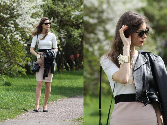 Stiliaus tinklaraštininkės Modevi nuotr./Modevi pavasarinis įvaizdis: drabužių derinys su midi ilgio sijonu