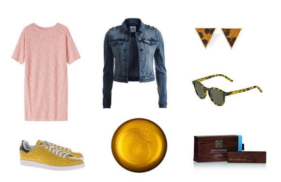 """Gamintojų nuotr./Rausva trikotažinė """"Toast"""" suknelė, """"Adidas and Pharell Williams"""" sportiniai batai, """"Object Collectors Item"""" džinsinis švarkas, """"Lush"""" aukso spalvos dušo želė, """"New Yorker"""" auskarai, """"Pierre Cardin"""" akiniai nuo saulės, """"Rituals"""" kvapas automobiliui."""