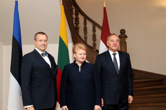 Prezidentūros nuotr./Lietuvos Respublikos prezidentė Dalia Grybauskaitė su Latvijos prezidentu Andriu Bėrziniu ir Estijos prezidentu Toomu Hendriku Ilvesu
