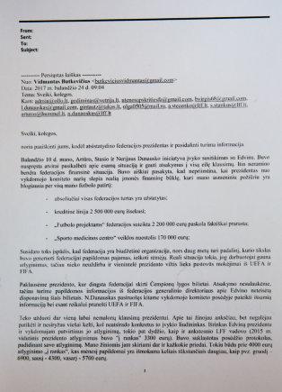Luko Balandžio / 15min nuotr./V.Butkevičiaus laiškas LFF Vykdomojo komiteto nariams