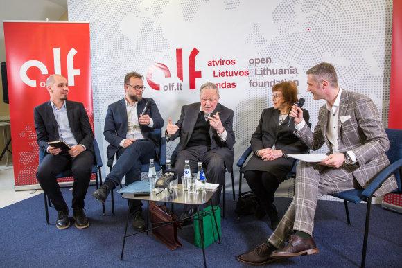 Luko Balandžio / 15min nuotr./Donatas Puslys, Rytis Zemkauskas, Vytautas Landsbergis, Irena Veisaitė ir Aurimas Švedas