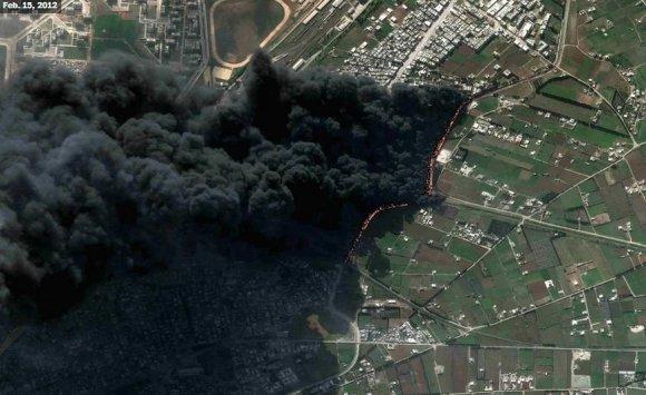 US Department of State, Humanitarian Information Unit, NextView License (DigitalGlobe) nuotr./Homsas, Baba Amr rajonas