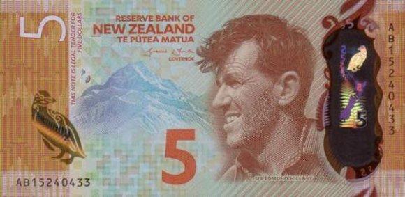Naujosios Zelandijos 5 dolerių banknotas