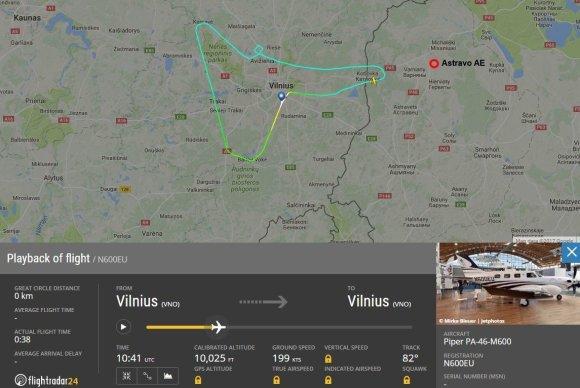 flightradar24.com iliustr./Orlaivio įskridimas į Baltarusijos teritoriją
