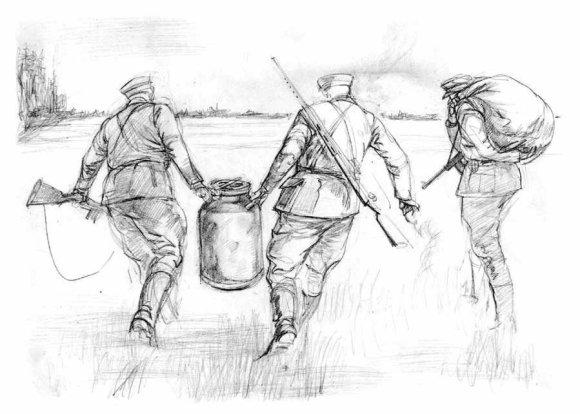 """Mindaugas Lukošaitis. Lietuvos partizanai ir jų archyvas. Iš piešinių ciklo """"Rezistencija"""""""