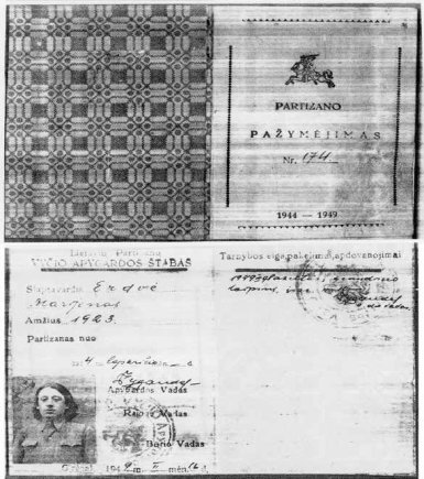 Iš Romo Kauniečio archyvo/Vyties apygardos partizano Marijono Pociūno-Erdvės pažymėjimas