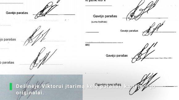 Stopkadras iš videoreportažo/Viktoro Vasino parašai