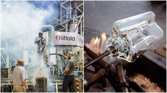 "Aalto vazos gamyba / ""Iittala"" nuotr. koliažas"