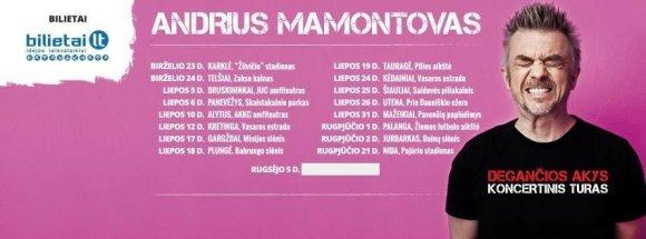 """Andriaus Mamontovos koncertinio turo """"Degančios akys"""" datos"""