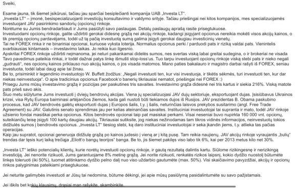 Evaldo Račicko laiškas