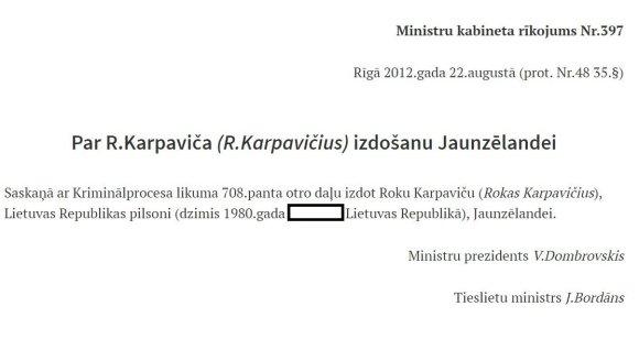 Latvijos pranešimas apie Roko Karpavičiaus išdavimą Naujajai Zelandijai