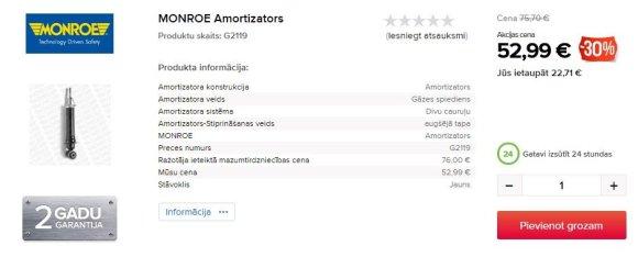 """""""Toyota Avensis"""" amortizatoriaus kaina Latvijoje"""