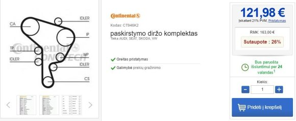 "Diržo kaina Lietuvoje""Volkswagen Golf"" dantytojo diržo keitimo komplekto kaina Lietuvoje"