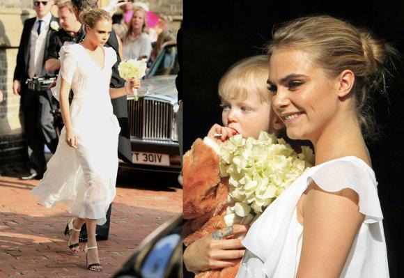 Vida Press nuotr./Cara Delevingne sesers Poppy Delevingne vestuvėse