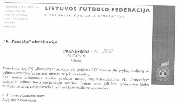 """LFF pranešimas """"Panevėžio"""" klubui"""