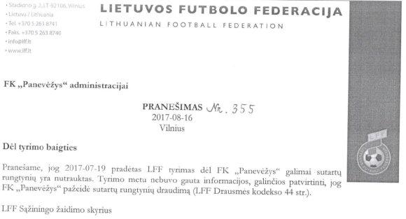 LFF Sąžiningo žaidimo skyriaus pranešimas