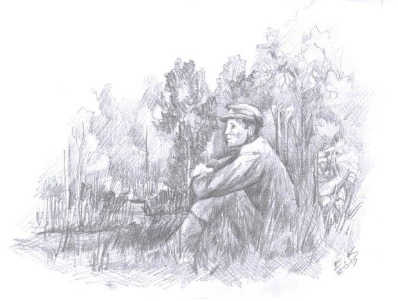 """Ernesto Kuckailio pieš. /Knygos """"Tylūs žingsniai per samanas"""" iliustracija"""